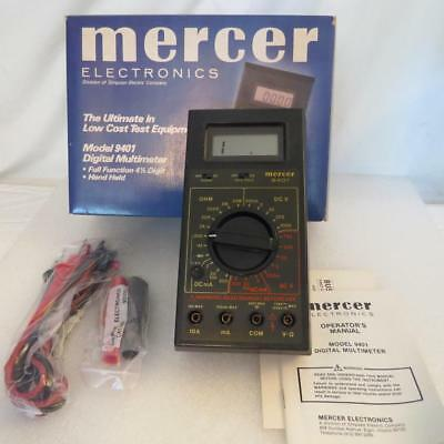Mercer 9401 4-12 Digit Multimeter Lcd Display With Leads Manual Nos
