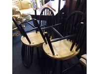 Set of 4 spindle back dining chairs