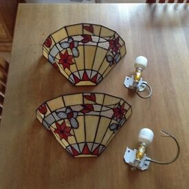 Pair of Butterfly Tiffany Wall Lights