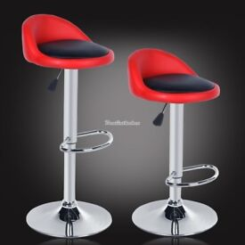 Two Red and Black Bar Stools