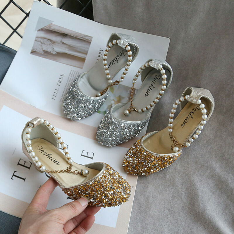 Toddler Girls Shoes Pearl Fashion Sequins Single Kids Baby P