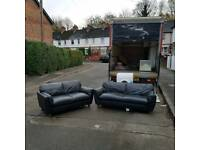 3 and 2 seater sofa in black leather
