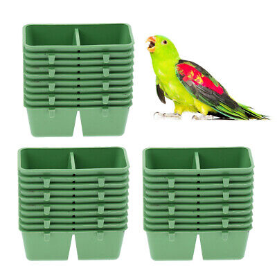 30Pcs Parrot Food Water Bowl Bird Pigeon Cage Feeding Dish Plastic Feeder
