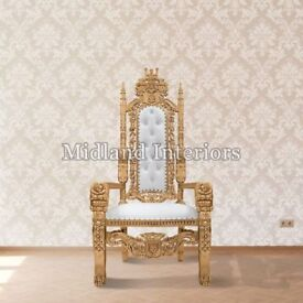 2 x New Gold leaf Rose King Queen Throne Chair Wedding Luxury Hand made French Italian Furniture