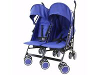 Blue double pushchair