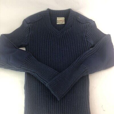 Brigade Quartermasters Adult Wolly Pully Military Sweater Blue Elbow Patches S