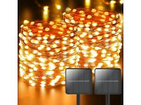 NEW [2 Pack] Solar String Lights Outdoor Garden, 110 LED Solar Fairy Lights 11M (Warm White)