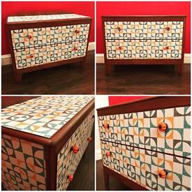 Retro-inspired 2-drawer chest, teak, cupboard with retro papered drawers, top and sides.