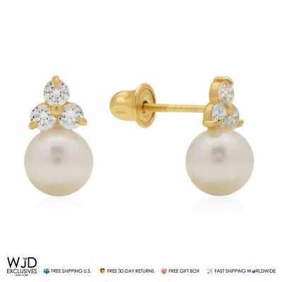 14k Gold Cultured Freshwater Pearl Earrings - 14K Yellow Gold 0.30Ct Diamond and Cultured Freshwater Pearl Ball Stud Earrings