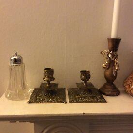Two vintage brass candlesticks