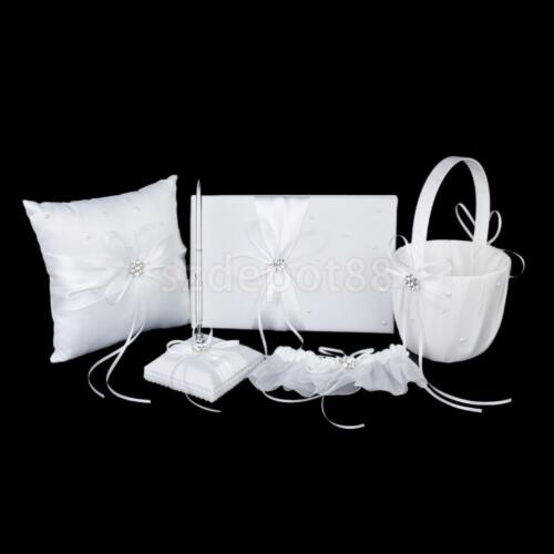 5 White Crystal Wedding Set Guest Book ...