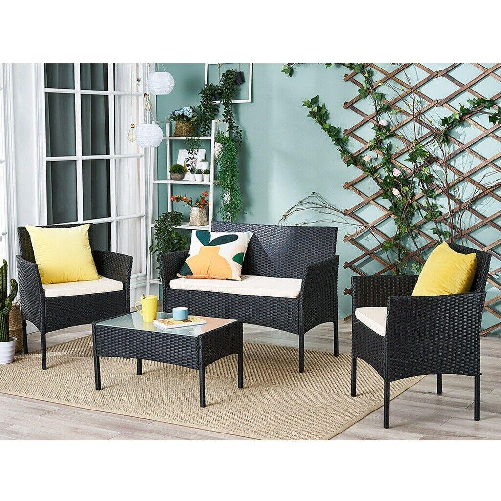 Garden Furniture - BLack 4 PCS Rattan Garden Furniture Set Chair sofa Table Patio Conservatory