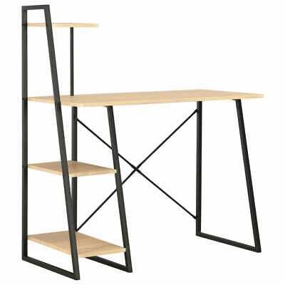 vidaXL Schreibtisch mit Regaleinheit Schwarz Eiche Computertisch Bürotisch