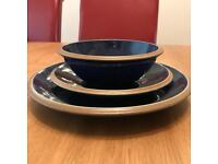 Blue dinnerware set, dinner plates, side plates and bowls