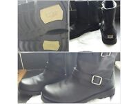 Harwell Black Leather Ugg Boots.