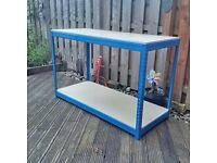 BigDug Industrial Workbench With 2 Chipboard Shelves 900h x 1400w x 600d mm Blue 300kg UDL