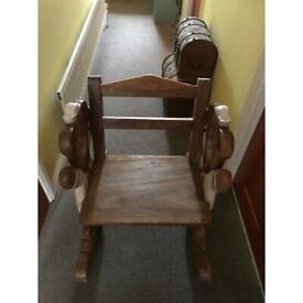 Children's wooden rocking chair (handmade)