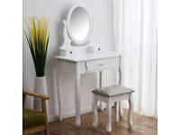 BRAND NEW JASMINE WHITE DRESSING TABLE WITH ADJUSTABE MIRROR AND STOOL