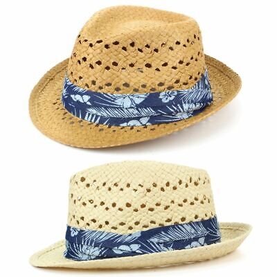 Floral Straw Hat (Hat Straw Trilby Fedora Woven Ventilation Hibiscus Floral Band Hawaiian)