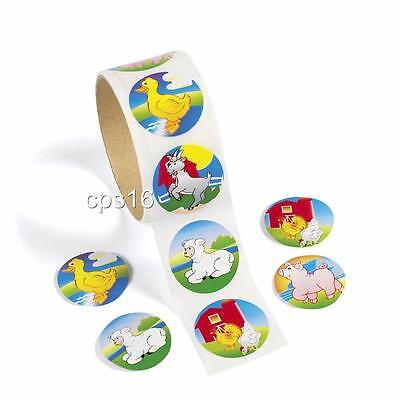 24 Farm Animal Stickers...Party Favor...Favours...Barn Party Supplies...Craft ()