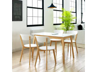 **Lowest Price Guarantee** Brand New 5 Piece Birch Wood Dining 4 Chairs Table Kitchen Set - White