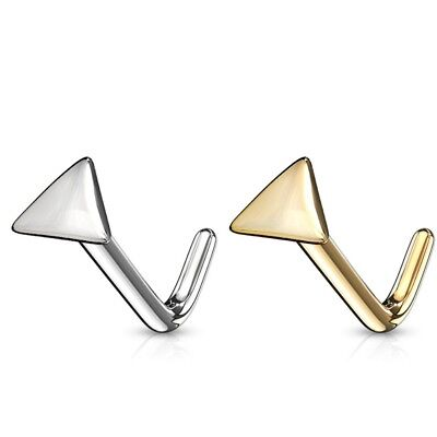 Gold Stud Triangle Top - TRIANGLE SHAPE TOP NOSE RING STUD(L-SHAPE) 14KT GOLD PIERCING JEWELRY (20G 1/4