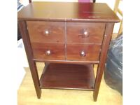 Mahogany bedside table with drawers