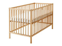 IKEA SNIGLAR Baby Nursery Cot Bed 4' x 2' Beech Wood, Adjustable Levels, Easy to assemble/dismantle