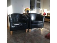 2 bonded leather tub chairs