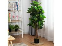 Decorative Artificial Plant Fiddle Leaf Fig Tree Pot Realistic In/Outdoor HW66027-9