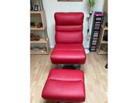 Modern red swivel chair and stool