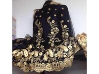Black and gold lace wedding bridal eid mehndi Christmas beading prom