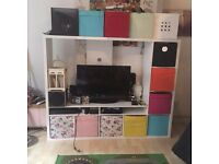 IKEA Lappland TV Display Unit (8 fabric storage boxes inc)