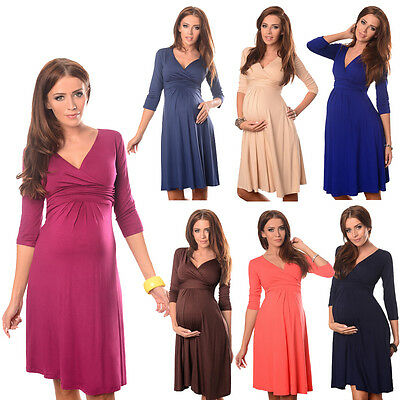 Purpless Maternity Women/'s 3//4 Sleeve Pregnancy V-Neck Formal Dress Top D4400