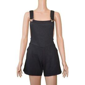 Women's Jumper Shorts Elastic Waist Dungarees Linen Rompers Jumpsuit