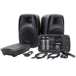 "Portable Dual 10"" Speakers with mixer Bluetooth MP3 Player System with Microphone - Gemini ES-210MX-BLU"
