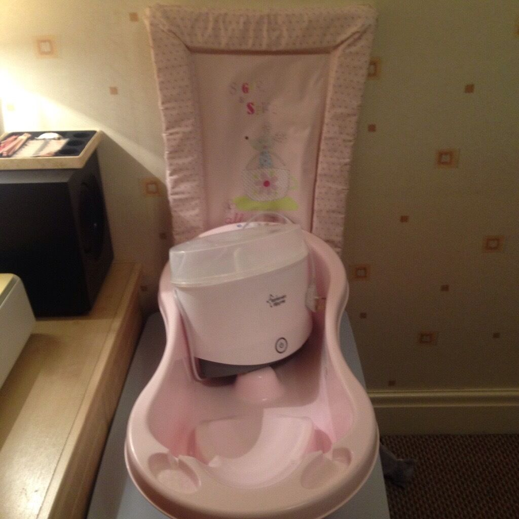 Tommee tippee steriliser, pink changing may and baby bath for sale ...