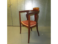Antique Edwardian Mahogany Tub Chair, Bedroom/Dining/Dressing Table Chair