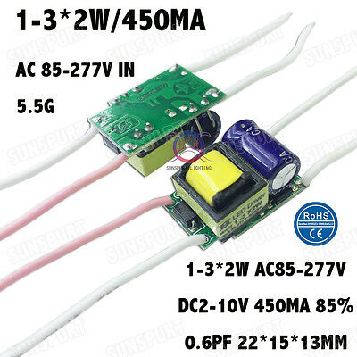 10pcs Ac85-277v 5w Led Driver 1-3x2w 430ma Dc2-11v Constant Current For1-3pcs 2w