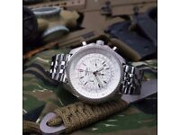 New silver with White dial breitling Bentley with sweeping chronograph stopwatch movement