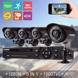 4 Channel 1080N HDMI CCTV DVR 1500TVL Outdoor Video Camera Home Security System