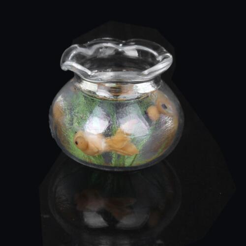 New miniature gold fish bowl fish tank doll house pets 1 for Mini fish bowls