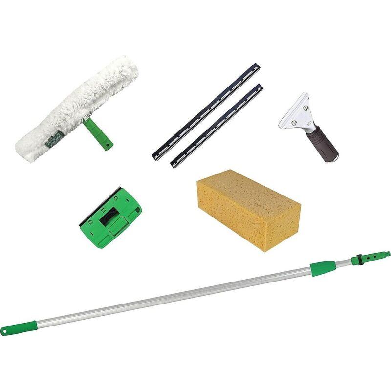 Unger PWK00 Pro Window Cleaning Kit w/8ft Pole, Scrubber,Squeegee,Scraper,Sponge