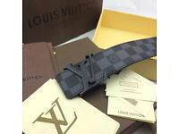 Men's chequered leather belt with black buckle Versace boxed brilliant gift for him present