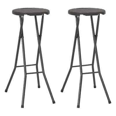 vidaXL 2x Folding Bar Chairs HDPE 35x44x80cm Brown Rattan Look Outdoor Chair
