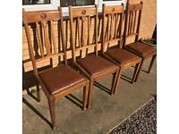 Four Oak Drop Seat Dining Chairs