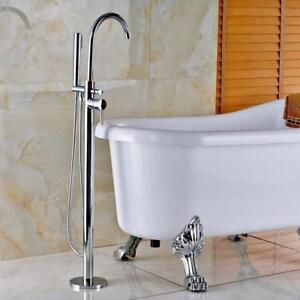 Floor Mounted Bathtub Filler Faucet Free Standing Mixer Tap Chrome W/Hand Shower - FREE SHIPPING