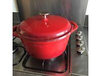 Red Denby cast iron pot