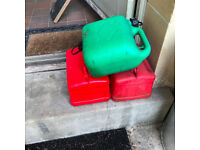 3X 5 Litre Red/Green Plastic Petrol Jerry Can Container For Storage Fuel Diesel Oil