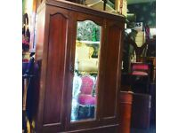Reduced. Antique mirror fronted wardrobe